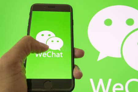 New York City, United States-13 Aug, 2020: WeChat logo displayed on an iphone