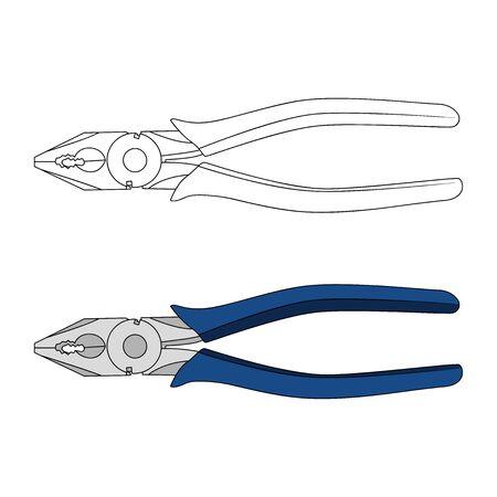 Wire Cutter Plier Flat Vector Design Illusztráció