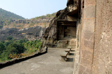Ajanta, Maharashtra - December 15, 2019: Beautiful view of Ajanta caves.