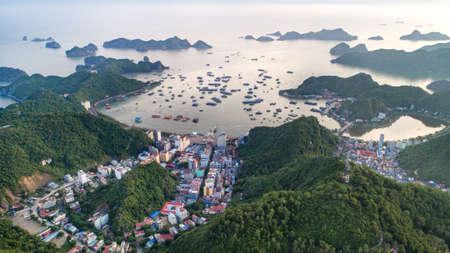Cat Ba island from above. Lan Ha fly. Hai Phong city, Vietnam 스톡 콘텐츠