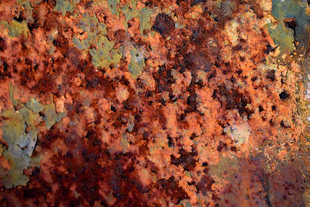 A close up of rusty iron cladding