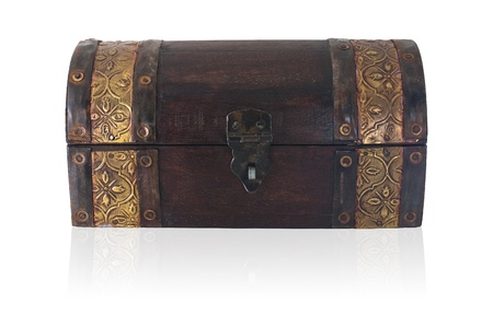 A small wooden chest of Asian origin. photo