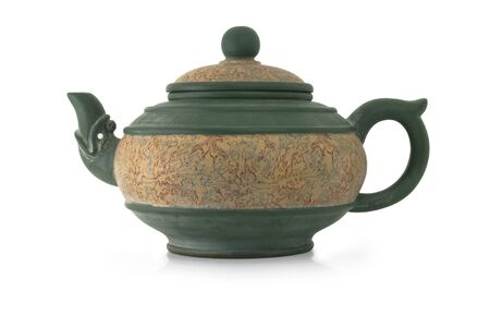 purchased: A precious ceramic teapot hand crafted and purchased in China. Stock Photo