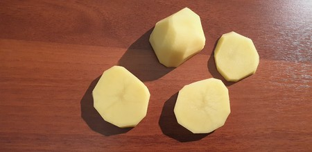 Potato close up. Peeled potatoes. in close up