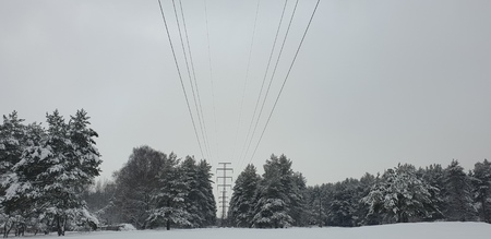 The High voltage lines in the forest. Power lines in the winter forest