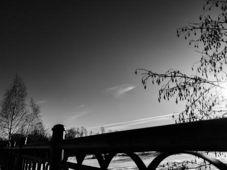The Bridge close up. Bridge for pedestrian traffic. Bridge over river.