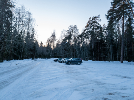 The Cars in the woods in winter. SUVs in the forest. Cars in the forest close up. Standard-Bild