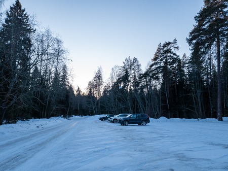 The Cars in the woods in winter. SUVs in the forest. Cars in the forest close up. Standard-Bild - 117521003