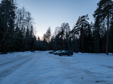 The Cars in the woods in winter. SUVs in the forest. Cars in the forest close up. Standard-Bild - 117521006