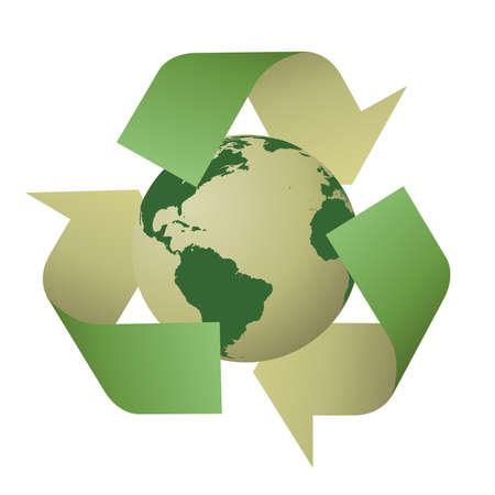 earth friendly: Vector reciclar signo con el planeta tierra