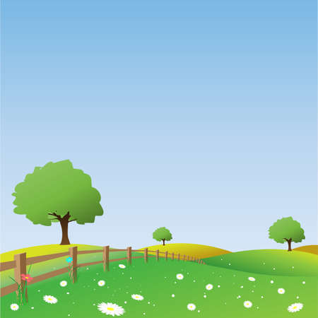 Country Landscape with Trees and Fence