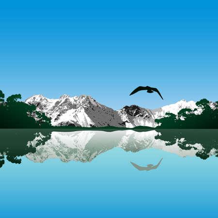 安らぎ: 湖と山の風景