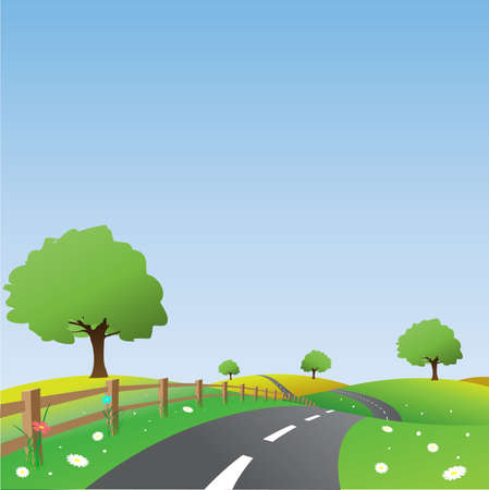 country road: Country Landscape with Road Illustration