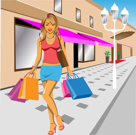 mall: Young Girl Shopping