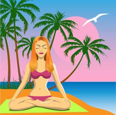 Girl Meditating on a Beach Vector