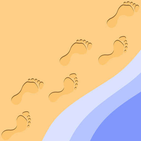 empreintes pieds: Foot Prints in the Sand Illustration