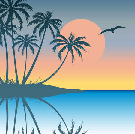 Tropical Island with Palm Trees Vector