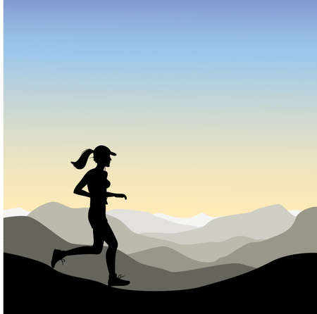 A Woman jogging in the Mountains Illustration