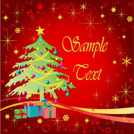 Christmas Tree with Gifts and Stars Vector
