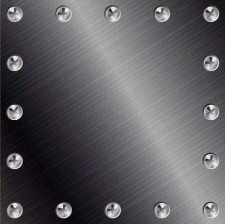 Brushed Metal Background with Screws Stock Photo - 3906901