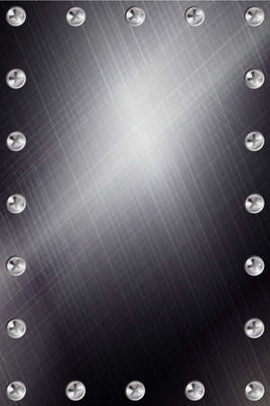 Brushed Metal Background with Screws Stock Photo - 3906913