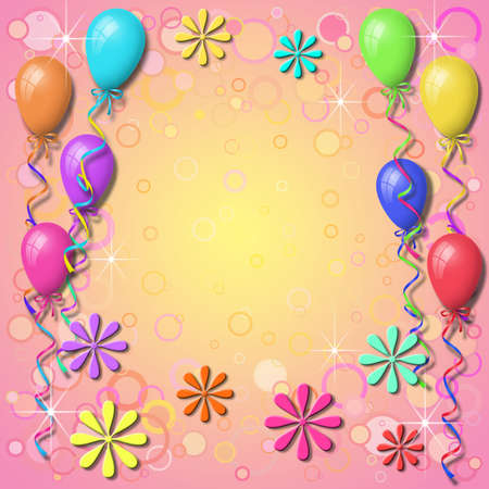 Balloon Background Border with Circles Stock Photo - 4174219