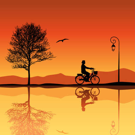 Landscape with Tree and Bicycle Silhouettes Vector