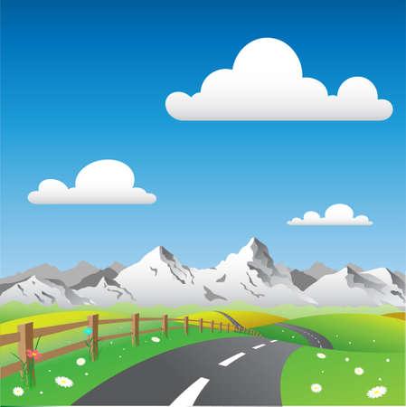 mountain meadow: Paisaje con el pa�s por carretera y Monta�as