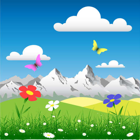 Country Landscape with Flowers and Mountains Vector
