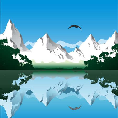 Paesaggio con montagne e il lago