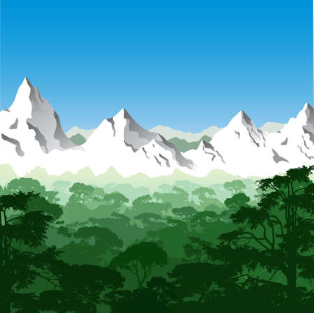 jungle vector: Landscape with Mountains and Trees