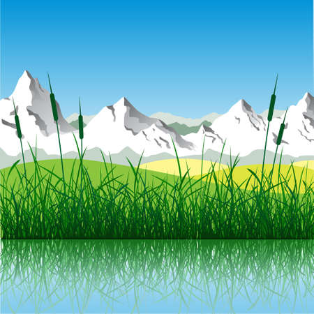 Landscape with Mountains and Water Vector