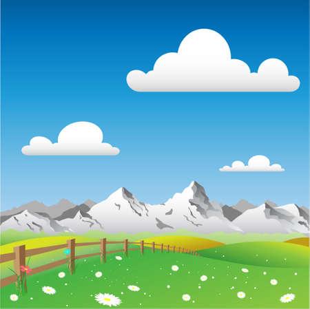 mountain meadow: Un paisaje con monta�as Pa�s Vectores