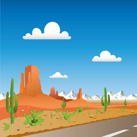 cactus desert: Desert Landscape with Road and Mountains