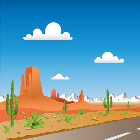 Landschap met Desert Road en Bergen Vector Illustratie