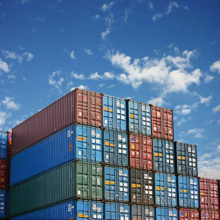 dockside: Stack of freight containers at the docks