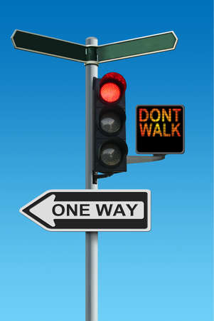 dont walk: Traffic Lights with Dont Walk and One Way Signs Stock Photo