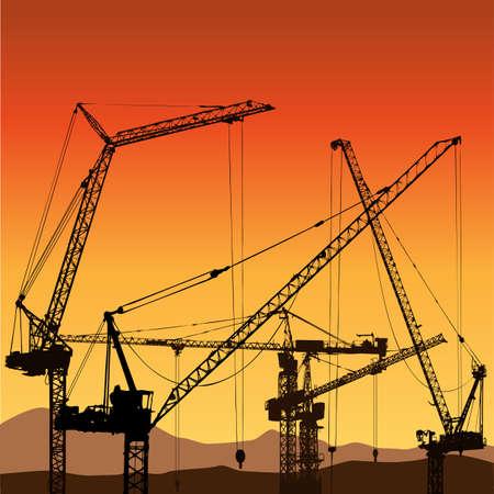 steel construction: Molte delle gru a torre per la costruzione del sito