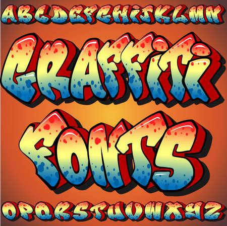 fonts: A Full Set of Graffiti Fonts Illustration