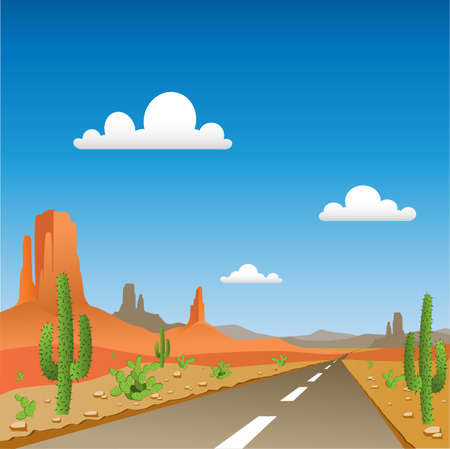 A Desert Landscape with Road Vector