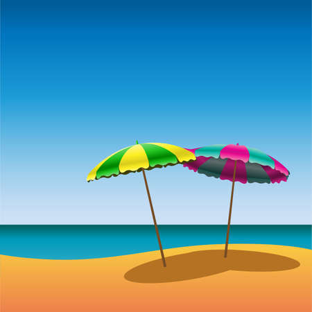 in the shade: Two Parasols on Beach with Shade