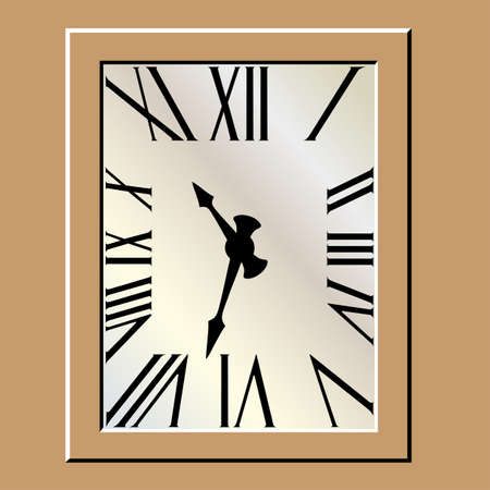 roman numerals: Art-Deco Clock with Roman Numerals Illustration