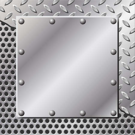 tread pattern: A Metal Background with Tread Plate and Rivets