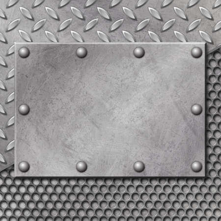 A Grunge Metal Background with Mesh and Tread Plate Stock Photo - 5953735