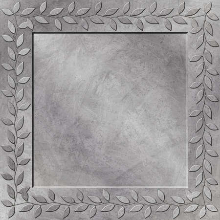 A Grunge Metal Background with Floral Border Stock Photo - 5953723