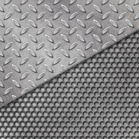 treadplate: A Grunge Metal Background with Mesh and Tread Plate