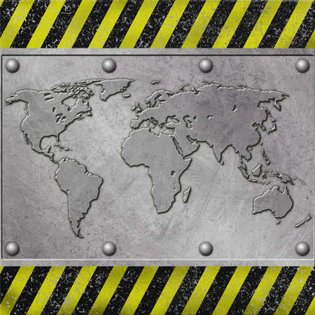 A Grunge Metal Background with World Map photo