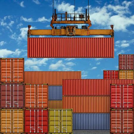 freight container: Pila de contenedores de carga en el puerto con Crane