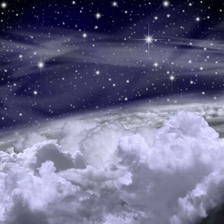 A Sky Background with Stars and Clouds Stock Photo - 7018636