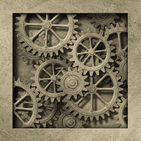 A Mechanical Background with Gears and Cogs Stock Photo